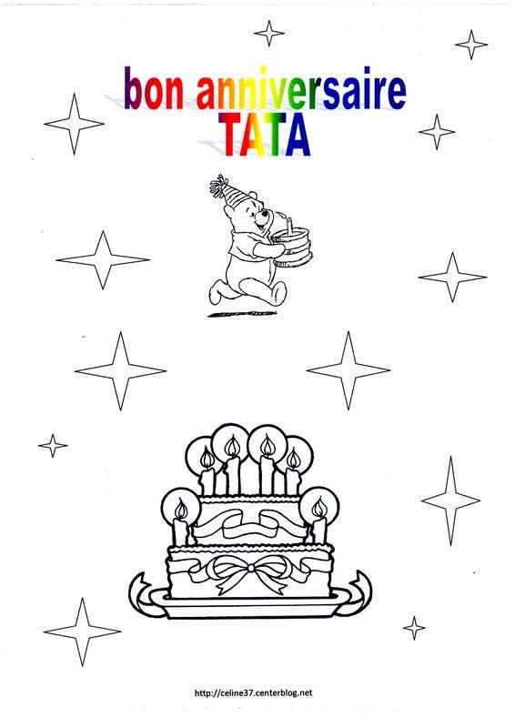 Coloriage bon anniversaire tata - Joyeux anniversaire a colorier ...