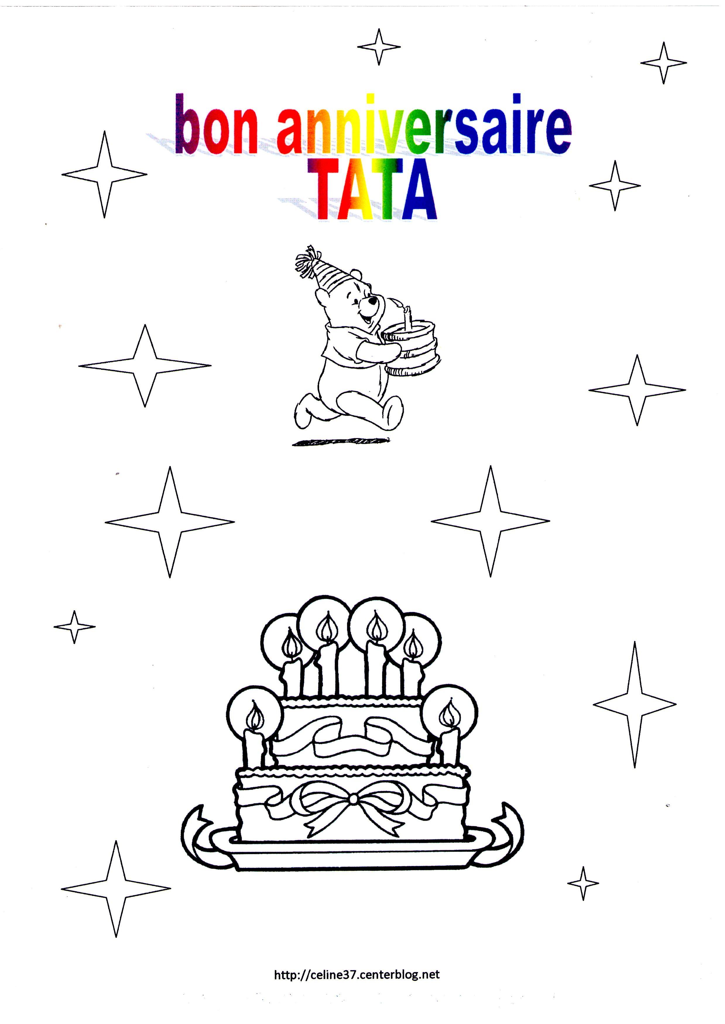 Coloriage bon anniversaire tata - Dessin a imprimer anniversaire ...